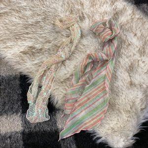 Vtg sequin silky satin hair twilly scarf bundle